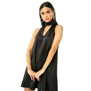 Forever 21 Mock Tie-Neck Cutout Shift Mini Dress